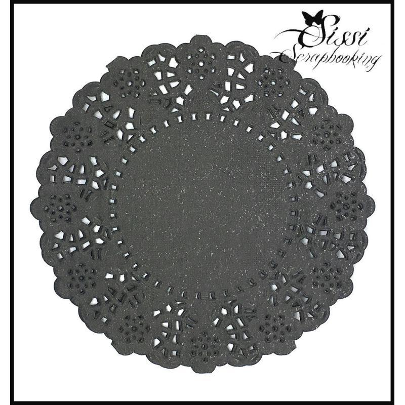 Lot 25 napperon forme de rond papier gris anthracite scrap for Accesoire cuisine