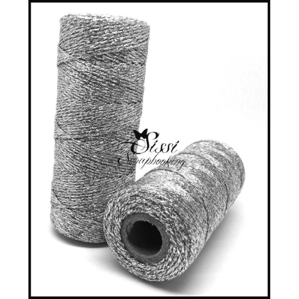 Lot 100M Baker Twine Corde Rope Snoer Strick Cuerda Corda Bobine De Ficelle 'Artemio' Argent 100 - Photo n°1