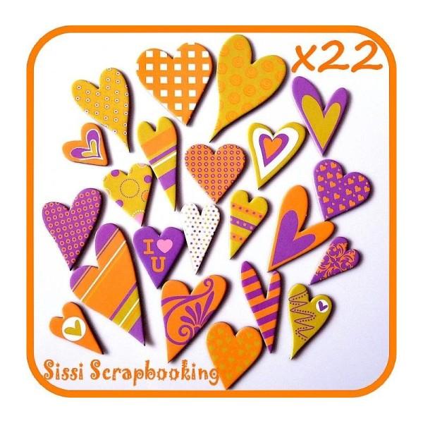 Lot 22 Chipboard Coeur Tons Violet Orange  Amour Scrapbooking - Photo n°1