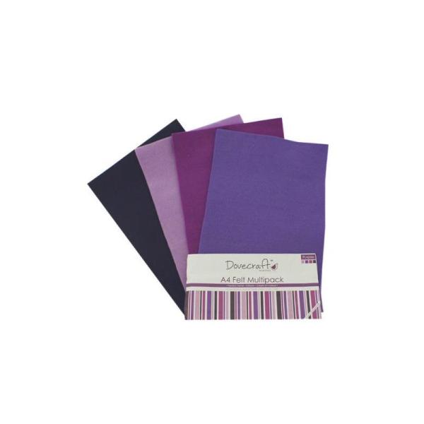 Lot 8 Planche Feuille A4 Feutrine Degrade Violet Mauve Scrapbooking Couture Scrap Deco - Photo n°1