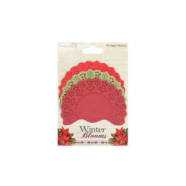 Lot 30 Napperons Denteles Forme De Rond En Papier Rouge Vert Scrapbooking Scrap Winter Blooms - Photo n°1