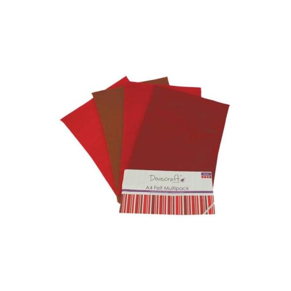 Lot 8 Planche Feuille A4 Feutrine Degrade Rouge Scrapbooking Couture Scrap Deco - Photo n°1