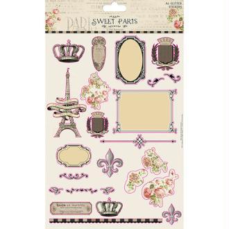 Maxi Lot Planche 24 Stickers Pailletes Glitter Multicolores Collection Vintage Sweet Paris