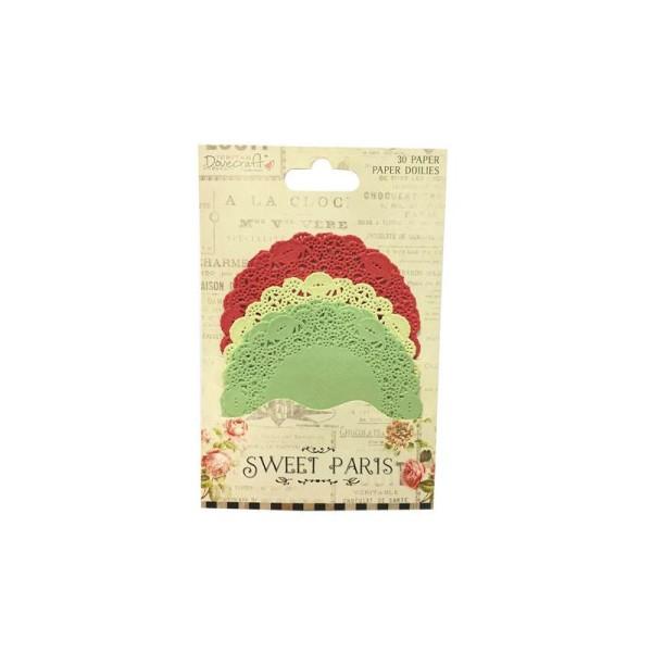 Lot 30 Napperon Forme De Rond En Papier Vert Jaune Rouge Scrapbooking Scrap Embellissement - Photo n°1