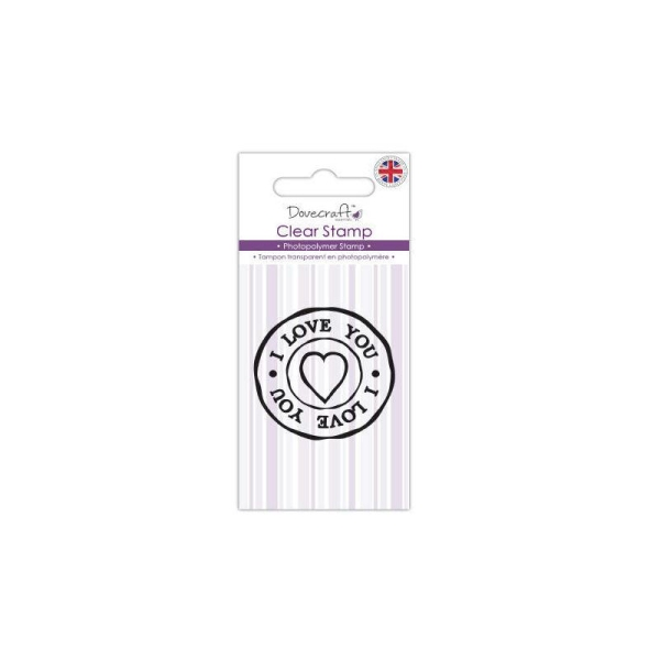 Tampon I Love You Je T'Aime Coeur Rond Cercle 4cm Scrapbooking Scrap Carte Clear Stamp - Photo n°1