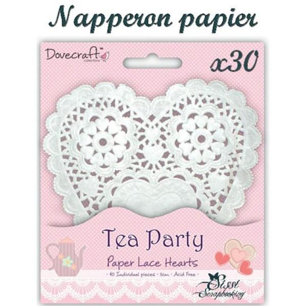 Lot 30 Napperon Forme De Coeur En Papier Blanc Scrapbooking Scrap Embellissement - Photo n°1