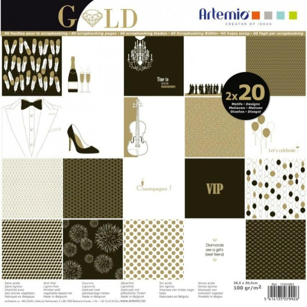 Assortiment 30X30 'Artemio - Gold Noir Dore Blanc Effet Dore Glitter' Qte 40 Pages - Photo n°1