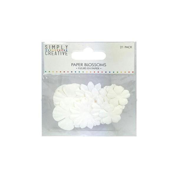 Lot 21 Fleurs En Papier Scrapbooking Scrap Carte Blanc Pure Mariage - Photo n°2