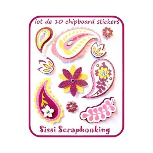 Lot 10 Chipboard 3D Fleurs Strass Paillettes Flourish Scrapbooking - Photo n°1