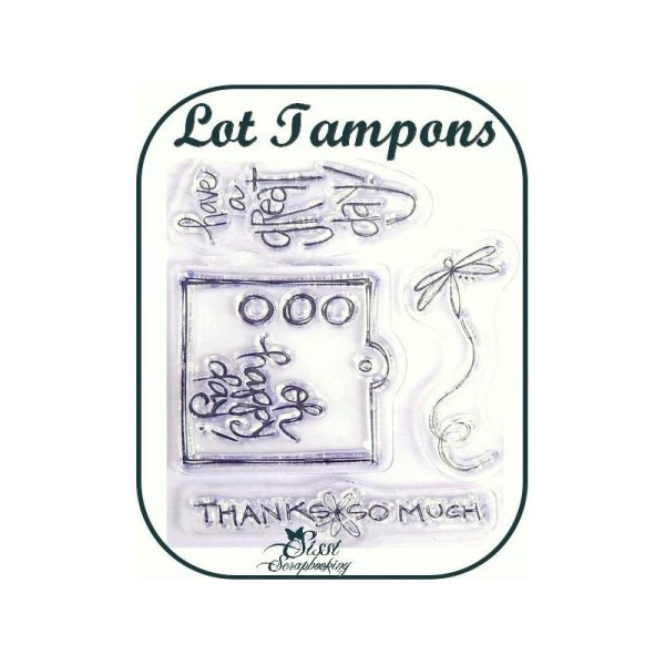 Lot 4 Tampons Transparents Tags Merci Joie Scrapbooking - Photo n°1