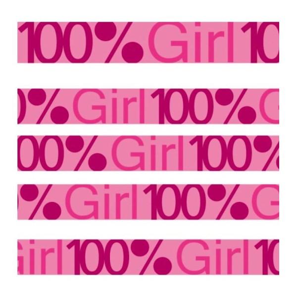 Lot 10M Masking Tape Ruban Adhesif Fille 100% Girl Rose Rose Fuchsia Scrapbooking Scrap - Photo n°1
