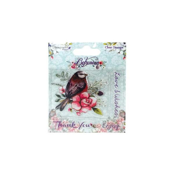 Lot 4 Tampon Transparent Clear Bohemian Vintage Oiseau Amour Desirs Enjoy Merci - Photo n°1