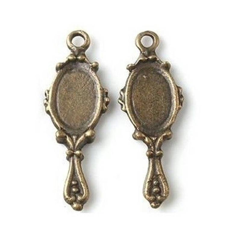 lot 4 charms breloque miroir poupee vintage ancien bronze