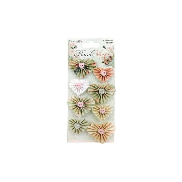 Lot 8 Coeur Accordeon Coeur Vintage Shabby Pastel Embelli Floral Muse - Photo n°1