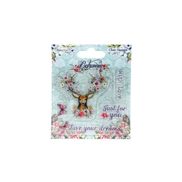 Lot 5 Tampon Transparent Clear Bohemian Vintage Cerf Avec Amour Just Pour Toi Vis Tes Reves - Photo n°1