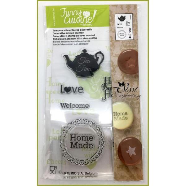 Maxi Lot 8 Tampons Alimentaires Decoratifs Pour Gateaux Cuisine Creative Funny + Bloc Acrylique - Photo n°2