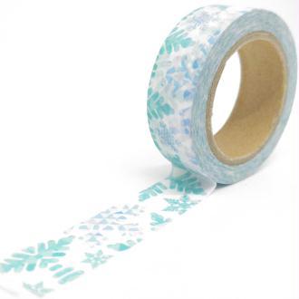 Washi Tape motifs feuilles flocons 10Mx15mm turquoise et bleu