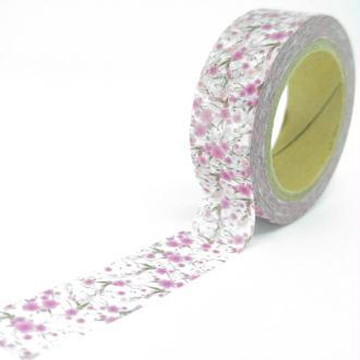 Washi Tape motifs petites fleurs de cerisiers 10Mx15mm rose et blanc