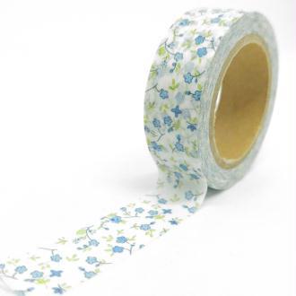Washi Tape motifs petites fleurs 10Mx15mm vert, blanc et bleu