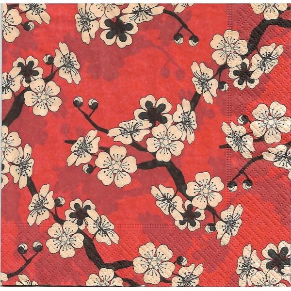 4 Serviettes en papier fleurs d'Asie Format Lunch - Photo n°1