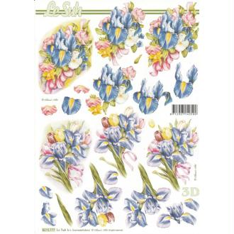 Feuille 3D à découper A4 Fleurs Iris