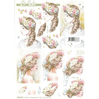 Feuille 3D à découper A4 Femme Fleurs