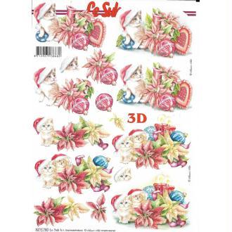 Feuille 3D à découper A4 Chat Poinsettia