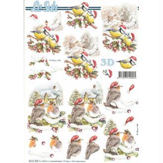 Feuille 3D à découper A4 Oiseaux Hiver