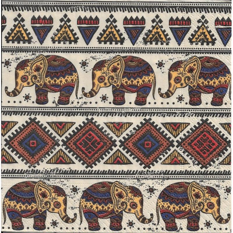4 serviettes en papier motifs africains l phant format - Serviette en papier motif ...