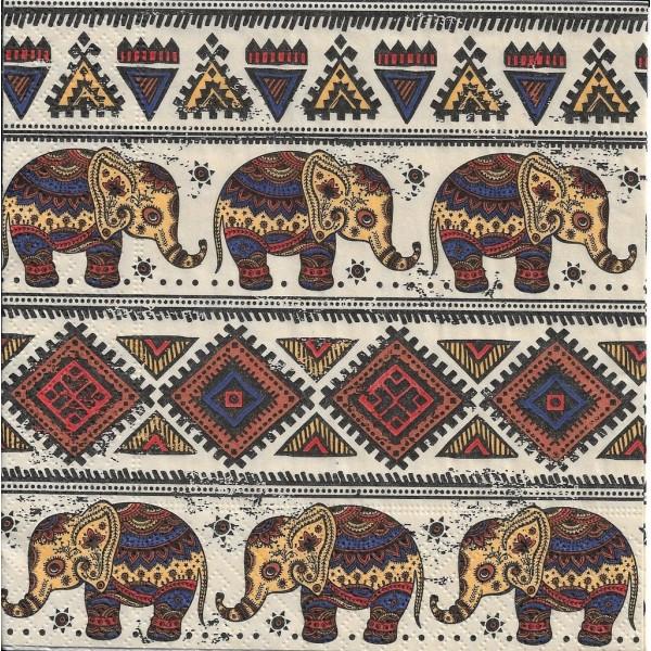 4 Serviettes en papier Motifs Africains éléphant Format Lunch - Photo n°2