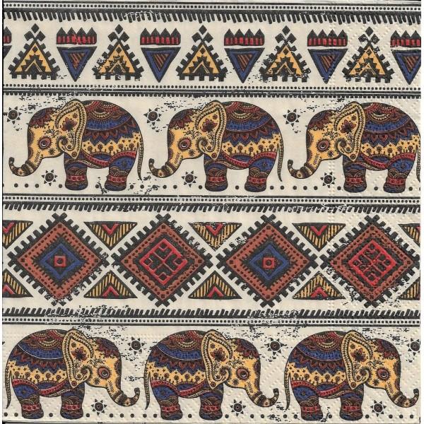 4 Serviettes en papier Motifs Africains éléphant Format Lunch - Photo n°1