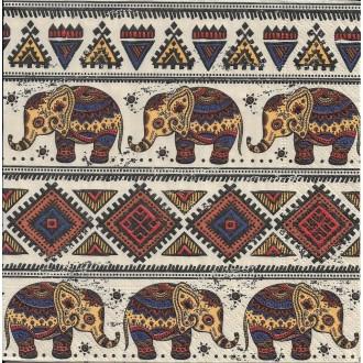 4 Serviettes en papier Motifs Africains éléphant Format Lunch