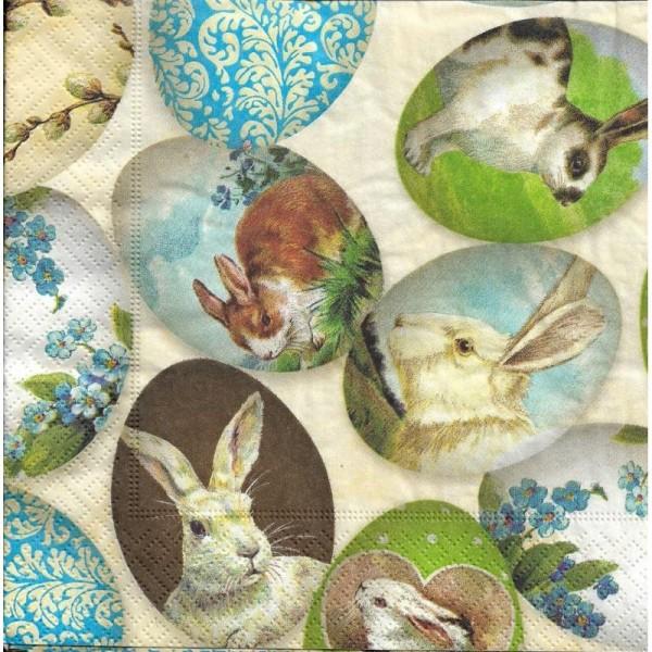 4 Serviettes en papier Lapins de Pâques Format Lunch - Photo n°2