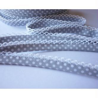 Biais 12 mm dentelle Gris Clair Pois Blanc Coton - au mètre