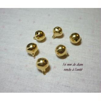 1 Grelot 16 mm doré Décoration Noël - à l'unité