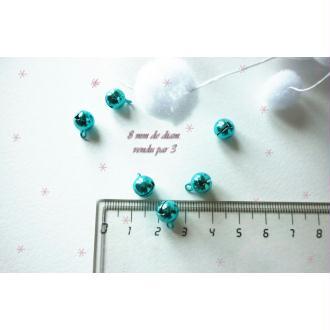 Lot 3 Grelots 8 mm Décoration Noël Bleu Brillant