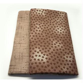 Tissu coeur marron Coupon 25x110 cm patchwork, couture