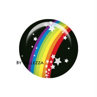 Cabochon en résine 25mm Arc en ciel multicolore