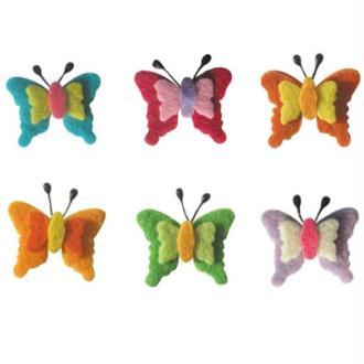 Papillon en feutrine 3 cm assortiment x6