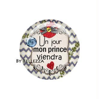 Cabochon en résine 25mm textes,messages,vague,prince