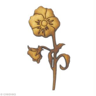 Forme en bois Nature - Fleur pensée