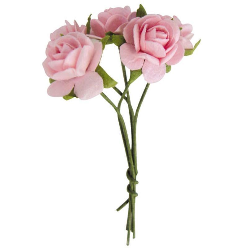 Fleur en papier rose rose pale x10 , Photo n°1