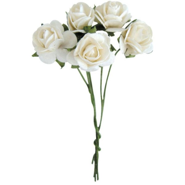 Fleur en papier rose blanche x10 - Photo n°1