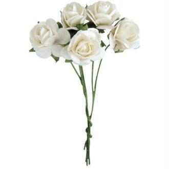 Fleur en papier rose blanche x10