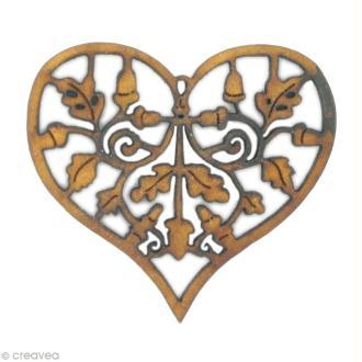 Forme en bois Amour - Coeur feuille de chêne