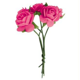 Fleur en papier rose rose vif x10