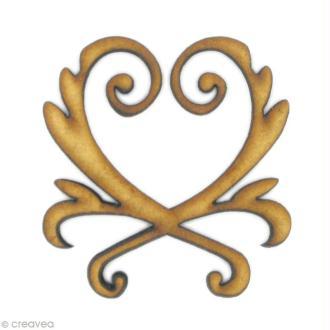 Forme en bois Ornement - Coeur d'arabesques