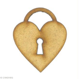 Forme en bois Amour - Cadenas coeur