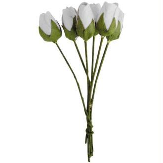 Fleur en papier bouton de rose blanc x18