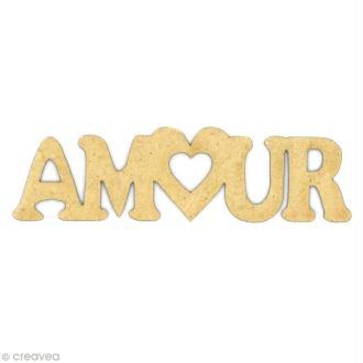 Mot Amour en coeur en bois MDF